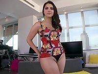 Italian Brunette hottie stretching her ass
