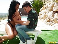 Katrina Moreno sunbathed near the pool and Jordi fucked her