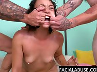 Rough deepthroat for cute angry Asian