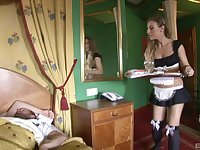 Blonde slutty maid Morgan Moon blows her boss's cock