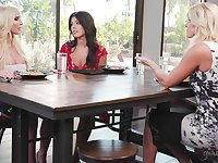 Adriana Chechik is seduced by two smoking hot lesbian MILFS