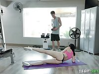 Sporty babe Violet Rain rides a big cock with her round ass in the gym