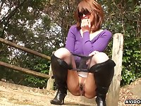 Check out real and kinky Japanese chick Atsuko Wata pissing outdoors