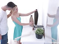 Beautiful blond teen Cornelia swallows hard sick and gets her anus nailed for the first time