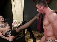 Alt pole dancer torments muscular man